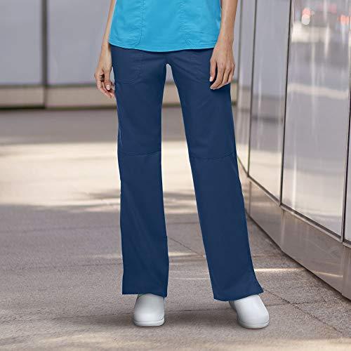 Cherokee Women's Mid Rise Straight Leg Pull-on Pant, Navy Medium ()