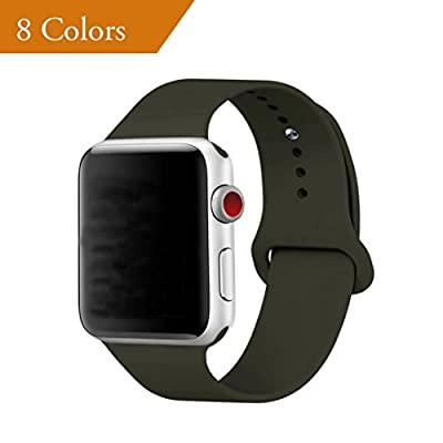 YANCH for Apple Watch Band 42mm, Soft Silicone Sport Band Replacement Wrist Strap for iWatch Nike+,Sport,Edition,M/L,Olive