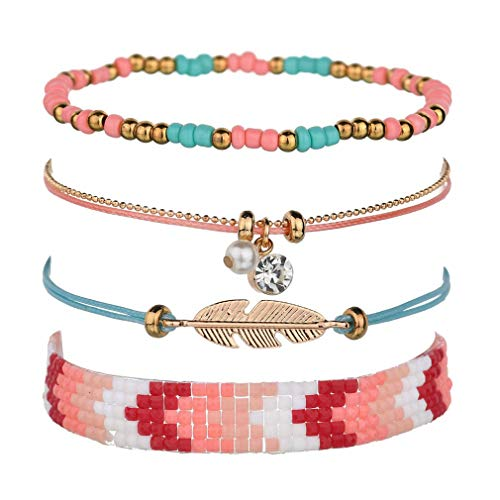 (CHASIROMA Adjustable Layered Bracelet Set 4pcs Bohemian Woven Bracelets Set Stackable Wrap Bangle)