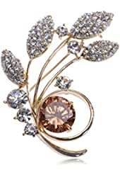 Golden Tone Synthetic Topaz Crystal Rhinestone Swaying Leaves Pin Brooch