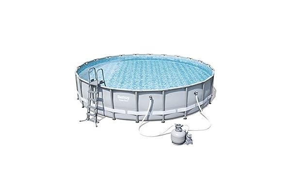Bestway Power Steel Frame Pool Set, Gris Claro, Redondo con Arena Bomba de Filtro + Accesorios: Amazon.es: Jardín