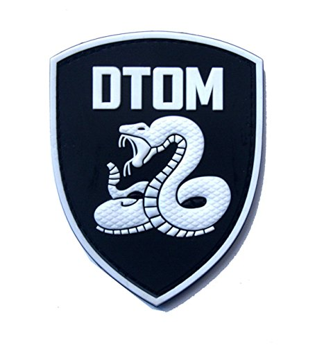 EJG Don't Tread On Me Tactical Patch (3.4 x 2.7 inches) DTOM Snake Morale 3D PVC Patch Rubber Military Patch Morale Patch with Hook & Loop Patch (White)