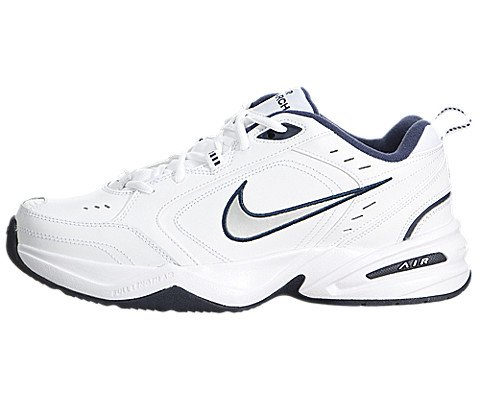Nike+Men%27s+Nike+Air+Monarch+IV+Training+Shoes+9+%28White%2FMetallic+Silver-Mid+Navy%29
