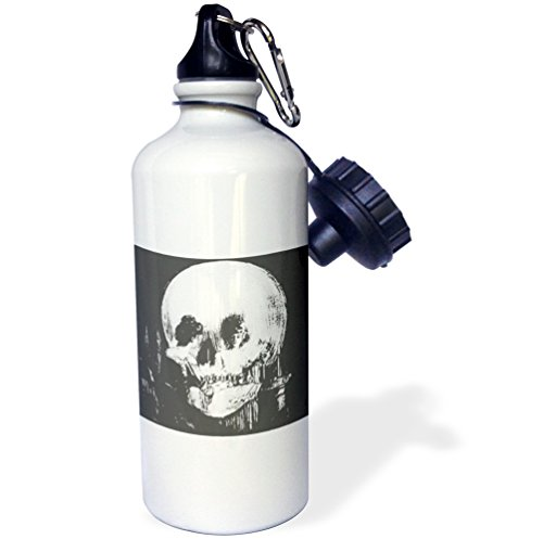 3dRose wb_46711_1 ''All Is Vanity ghost, halloween, optical illusion, paranormal, seasonal, silhouette, skeleton'' Sports Water Bottle, 21 oz, White by 3dRose