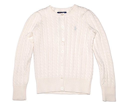 Ralph Lauren Girls Knit Sweater (RALPH LAUREN Polo Girls Cotton Knit Cable Cardigan Sweater (4))