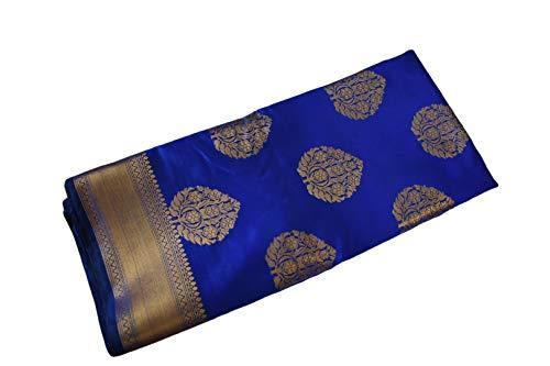 Elegant Banarasi Silk Saree with zari Border and zari Design in Blue Color. Free Blouse and Underskirt ()