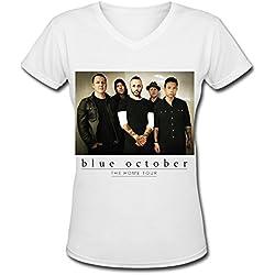 Blue October Home Tour 2016 V Neck T Shirt For Women White L