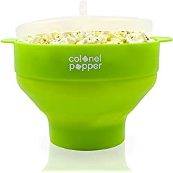 Colonel Popper Microwave Popcorn Popper, Healthy Silicone Popcorn Maker, Collapsible Bowl (Green)