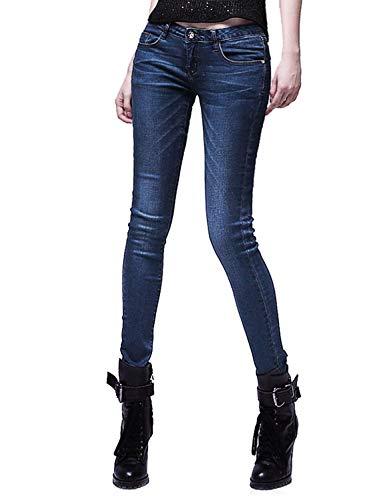 Slim X De Con Stretch Cremallera Huixin Bolsillos Mezclilla Mujeres Pantalón Fit Pantalones Casual Dh8102 Moda Las Blau Delanteros Jeans 7XwS5Tq