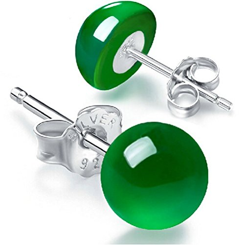 Price comparison product image Winter's Secret Vintage Silver Women Fashion Generous Green Chalcedony 6MM Stud Earring
