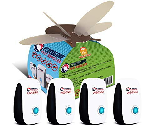 EcoBugBye Natural Ultrasonic Pest Repeller Indoor – 4 Pack Pest Control, Electronic Plug-in Repellent for Insects, Rodents, Mice, Rats, Roaches, Spiders, Flies, Ants, Eco-Friendly, Humans&Pets Safe