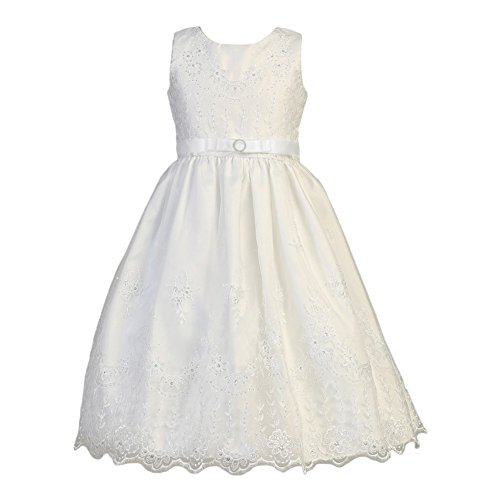 Lito Big Girls White Embroidered Organza Satin Holly Communion Dress 8
