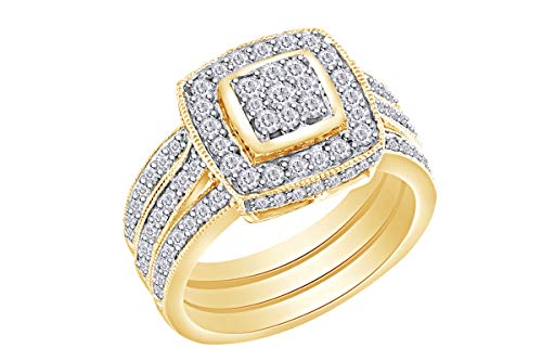 3 Cluster Diamond Ring - Wishrocks 1.00 Cttw Round Natural Diamond Cluster 3-Piece Wedding Bridal Engagement Ring In 14k Yellow Gold Band Set Ring Size-7.5