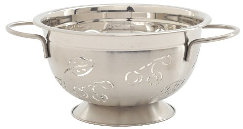 Cherry Design Colander - Norpro Stainless Steel 3 Quart Leaves, Cherries, Colander