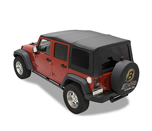 Bestop 79147-35 Black Diamond Sailcloth Replace-A-Top Soft Top with Tinted Windows; no Door Skins Included; Fits 2010-2018 Wrangler Unlimited; Cable top Design ()
