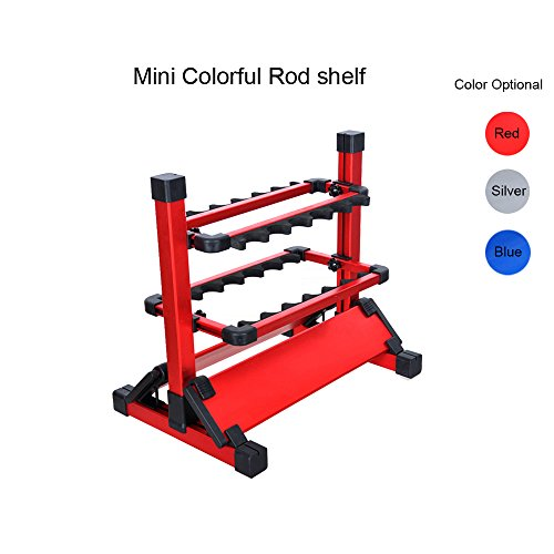Aventik Mini Fishing Rod Holder Aluminum 12-Rod Fishing Rod Shelf/Rack (Red) Review