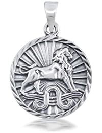 Bling Jewelry 925 Sterling Silver Zodiac Large Disc Pendant