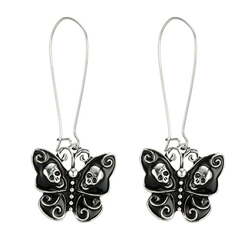 (Sterling Silver Plated Vintage Black Skull Heads Butterfly Charm Dangle Earrings)