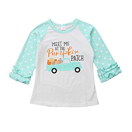 MAMOWEAR Baby Kids Girls Halloween Thanksgiving Christmas Ruffle Long Sleeve Cotton T-Shirt Top (Light Blue, 2-3 T)