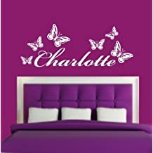 PERSONALISED NAME & BUTTERFLIES KIDS GIRLS BEDROOM VINYL WALL ART DECAL STICKER 24 COLOURS AVAILABLE (Pink) by WALL ART DESIRE