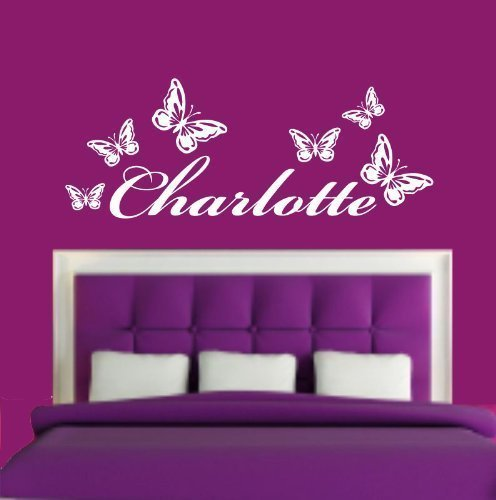 (LARGE) PERSONALISED NAME & BUTTERFLIES BEDROOM VINYL WALL ART DECAL STICKER 14 COLOURS AVAILABLE WALL ART DESIRE