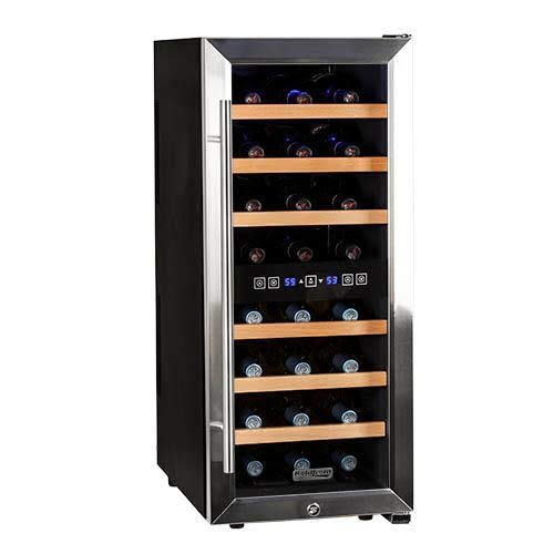 Koldfront TWR247ESS 24 Bottle Free Standing Dual Zone Wine Cooler - Black and Stainless Steel (Zone Wine Dual Lock With Cooler)