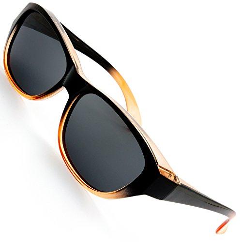 The Fresh High Definition Polarized Wrap Around Sunglasses for Prescription Glasses 64mm Gift Box (1-Shiny Black/Orange, ()
