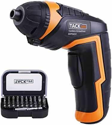Tacklife SDP50DC Cordless Rechargeable Screwdriver 3.6-Volt 2000mAh Li-ion MAX Torque 4N.m -- LED, 31pcs Driver Bits, USB Charging, USB Charging Cable