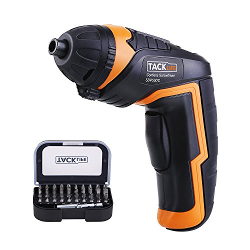 Tacklife SDP50DC Cordless Rechargeable Screwdriver 3.6-Volt 2000mAh Li-ion MAX Torque 4N.m — LED, 31pcs Driver Bits, USB Charging, USB Charging Cable