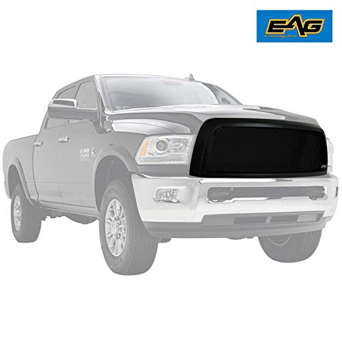 EAG Matte Black Stainless Steel Front Upper Hood Mesh Grille Replacement for 13-18 Dodge Ram 2500/3500