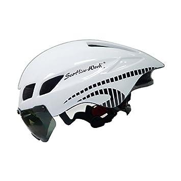 SCOHIRO-WORKCasco de Bicicleta Hombre Casco Ciclismo Road Mtb MTB MTB Triatlon TT-3 Casco de Ciclismo Lente Gafas Equipe Capacete Da Bicicleta, ...