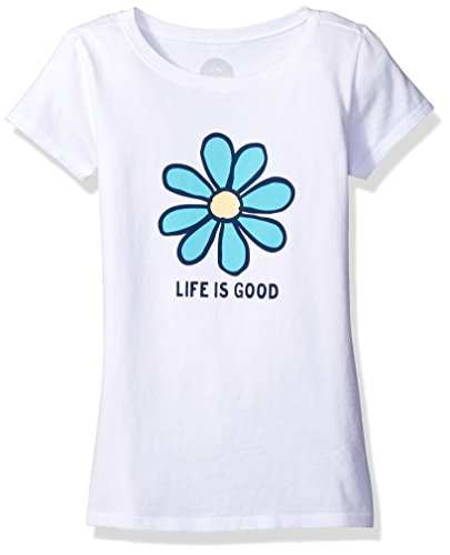 (Life is Good Girls Daisy LIG Tee, Cloud White, Large)