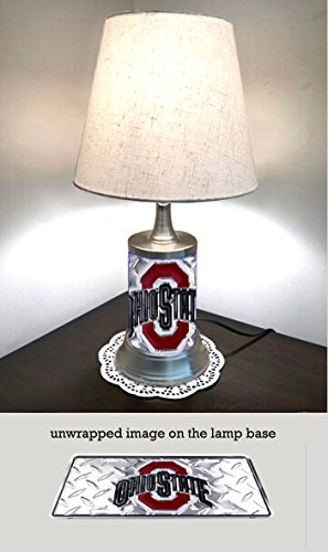 JS Table Lamp with Shade, Ohio State Buckeyes Plate Rolled in on The lamp Base, Base Wrapped with Diamond Metal Plate