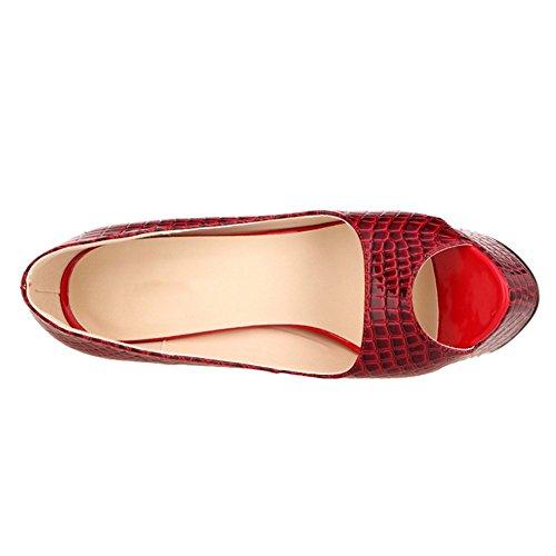 Womens Faux Plaid Leather Peep Toe Platform Heel Dress Party Pump Red zsx9BrE9
