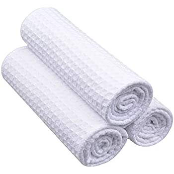 Sinland Microfiber Waffle Weave Kitchen Towels Drying Cloth 3 Pack 16inch X  24inch White E