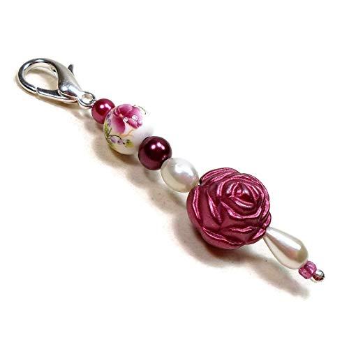 - Burgundy Rosette Beaded Key Fob, Scissor Minder