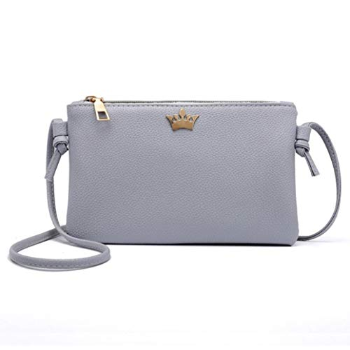Bags Shoulder Fashion Bags Bafaretk Crown Leather Bag Women GREY Crossbody Coin Solid Messenger rn8dqYPdwx