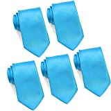 Mens Formal Tie Wholesale Lot of 5 Mens Solid Color Wedding Ties 3.5'' Satin Finish (Turquoise)