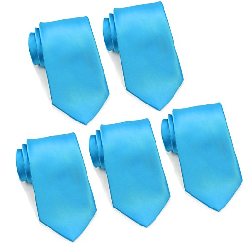 Mens Formal Tie Wholesale Lot of 5 Mens Solid Color Wedding Ties 3.5'' Satin Finish (Turquoise) by FoMann