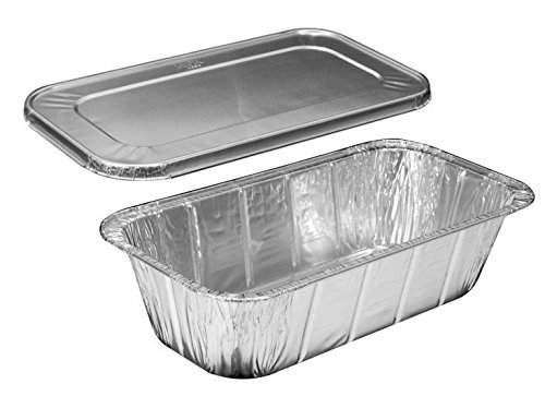 Handi-Foil of America Hfa 1/3 Third-Size Deep Aluminum Foil Steam / 5 lb Loaf Pan w/Foil Lids (Pack of 50 Sets) by Handi-Foil (Image #1)