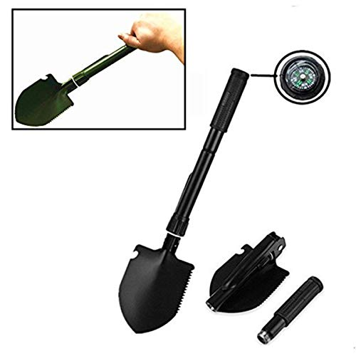 OUTCAMP Mini Foldable Military Folding Shovel 7-in-1 Multi-Function Garden Outdoor Tool with Hoe, Compass, Saw, Bottle Opener, Pickaxe for Gardening, Survival, Hiking, Ice Fishing-Color May Vary -