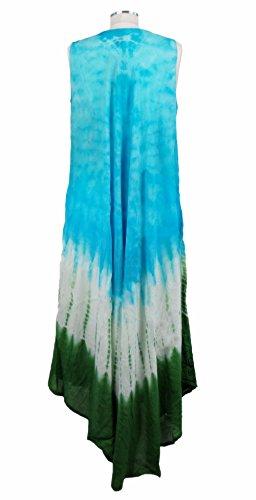 Taille Multi Couleurs Tie Dye Style Élégant Libre Indien Femmes Robe De Rayonne Sans Manches Bleu