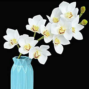 "Homcomoda Artificial Silk Cymbidium Orchid Flowers 28"" Pack 3 Real Touch Flowers Stem for Home Party Wedding Office Flowers DIY Decoration (White) 8"