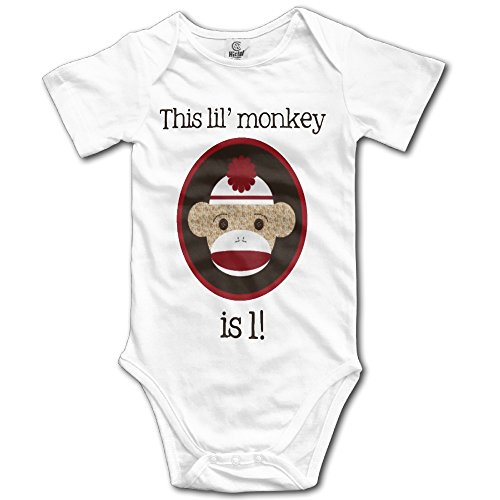(Zananala Red and Brown Sock Monkey First Birthday Baby Short Sleeve Coveralls Bodysuit in 4 Sizes )