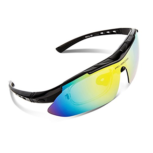 6e244e4c499 RIVBOS 806 POLARIZED Sports Sunglasses with 5 Set Interchangeable Lenses  for Cycling (Black)