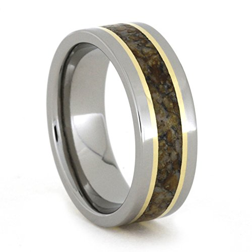 Dinosaur Bone, 18k Yellow Gold 7mm Comfort-Fit Titanium Band, Size 8.25 by The Men's Jewelry Store (Unisex Jewelry)