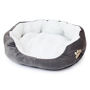 Paw print cómodo cálido mascotas perros gatos cachorro gato cama nido pad suave forro polar 2 tamaños: Amazon.es: Productos para mascotas