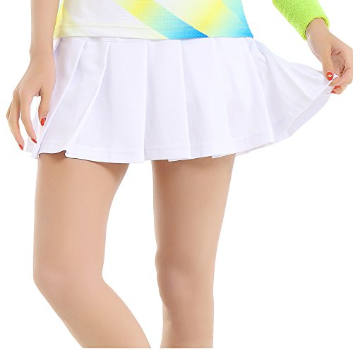 Toomett Women's Stretch Woven Pleated Tennis Active Skorts #036/White/US M(Tag XL) -