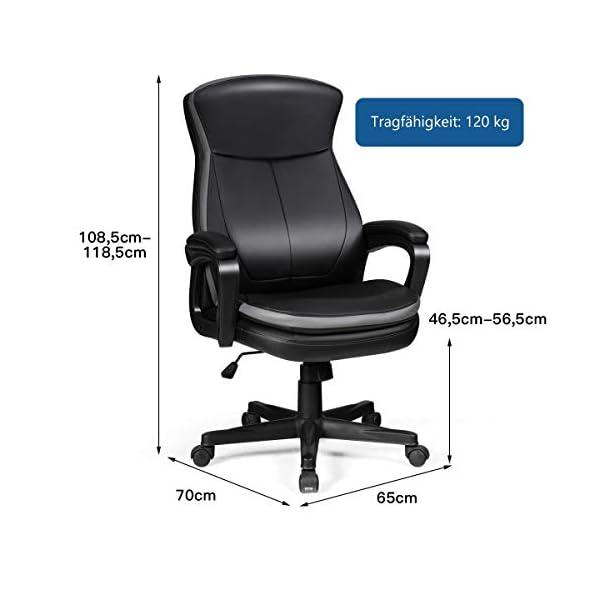 GIANTEX Fauteuil de bureau pivotant à 360° en cuir synthétique avec dossier et accoudoirs pour bureau