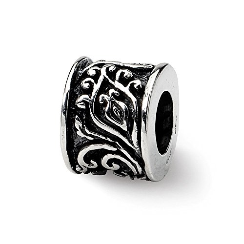 Sterling Silver Floral Scroll Bali Bead Charm